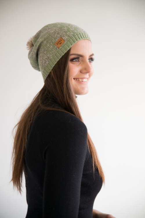 "Knitted merino wool beanie with fur pom pom ""Ärksi"" – mint   grey db7d8057e332"