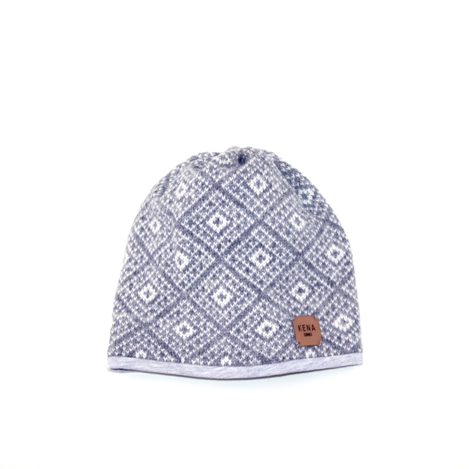 Knitted wool and organic cotton beanie hat