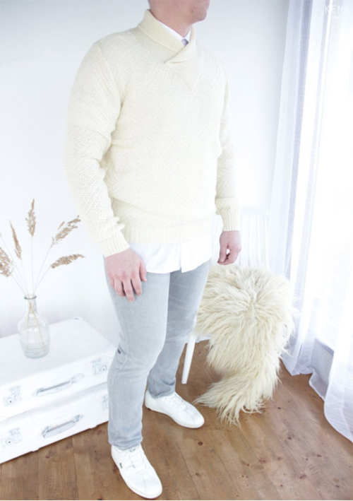"Knitted 100% pure merino shawl collar sweater ""Unk"""